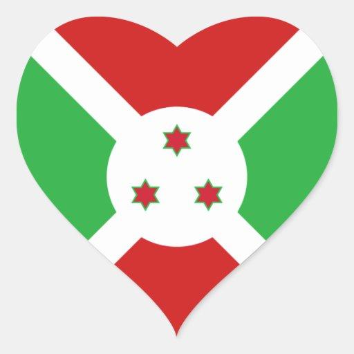Pegatina del corazón de la bandera de Burundi