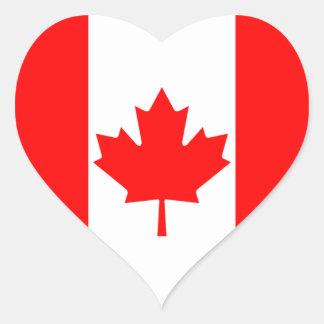 Pegatina del corazón de la bandera de Canadá
