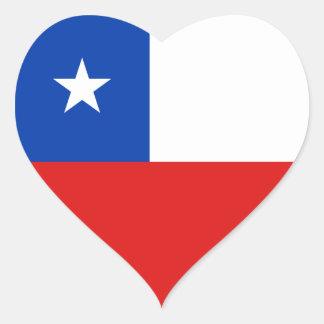 Pegatina del corazón de la bandera de Chile