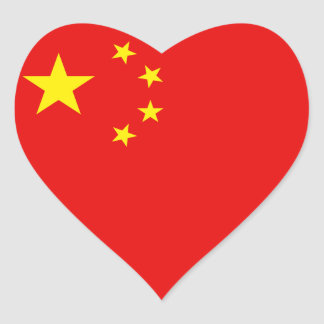 Pegatina del corazón de la bandera de China