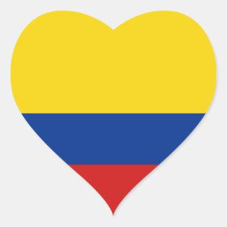 Pegatina del corazón de la bandera de Colombia