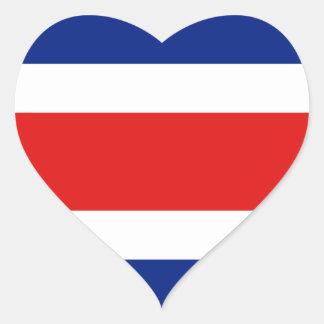 Pegatina del corazón de la bandera de Costa Rica