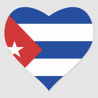 Pegatina del corazón de la bandera de Cuba