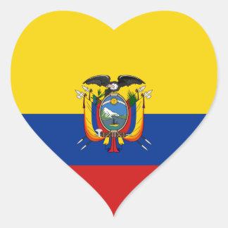 Pegatina del corazón de la bandera de Ecuador