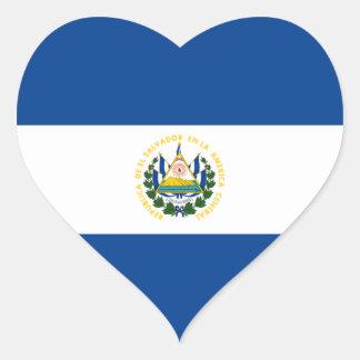 Pegatina del corazón de la bandera de El Salvador