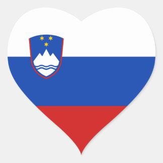 Pegatina del corazón de la bandera de Eslovenia
