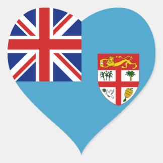 Pegatina del corazón de la bandera de Fiji