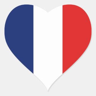 Pegatina del corazón de la bandera de Francia