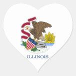Pegatina del corazón de la bandera de Illinois