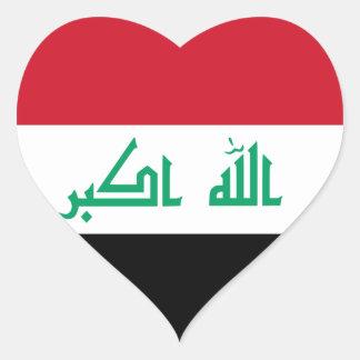 Pegatina del corazón de la bandera de Iraq