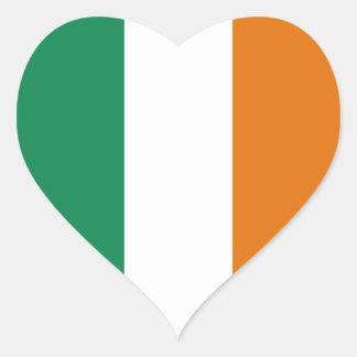 Pegatina del corazón de la bandera de Irlanda