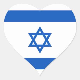 Pegatina del corazón de la bandera de Israel