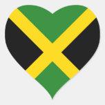 Pegatina del corazón de la bandera de Jamaica