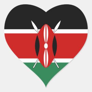 Pegatina del corazón de la bandera de Kenia