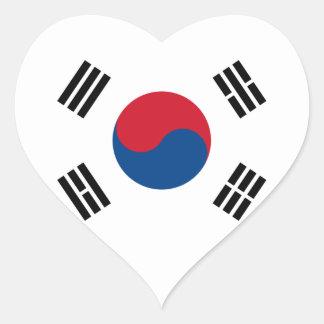 Pegatina del corazón de la bandera de la Corea del