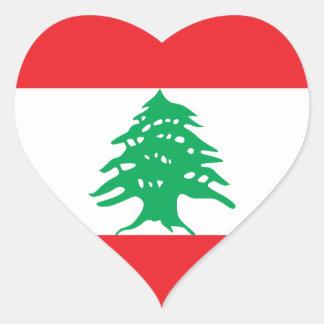 Pegatina del corazón de la bandera de Líbano