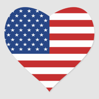 Pegatina del corazón de la bandera de los E.E.U.U.