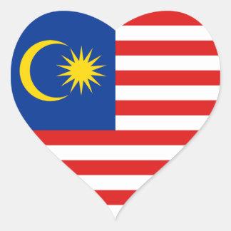 Pegatina del corazón de la bandera de Malasia