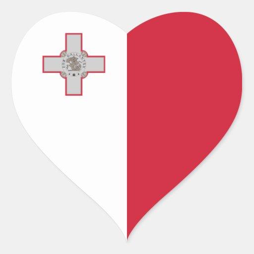 Pegatina del corazón de la bandera de Malta