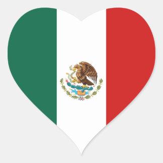 Pegatina del corazón de la bandera de México