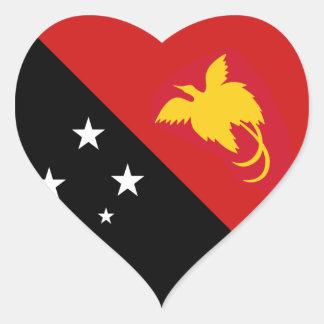 Pegatina del corazón de la bandera de Papúa Nueva