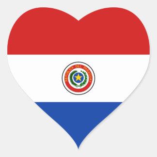 Pegatina del corazón de la bandera de Paraguay