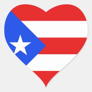 Pegatina del corazón de la bandera de Puerto Rico