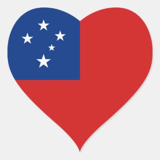Pegatina del corazón de la bandera de Samoa