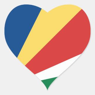 Pegatina del corazón de la bandera de Seychelles