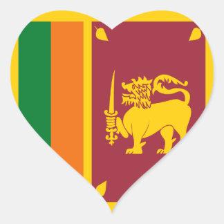 Pegatina del corazón de la bandera de Sri Lanka