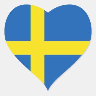 Pegatina del corazón de la bandera de Suecia