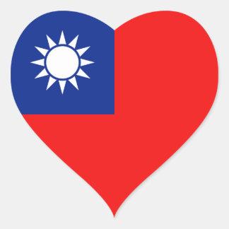 Pegatina del corazón de la bandera de Taiwán