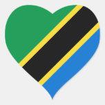 Pegatina del corazón de la bandera de Tanzania