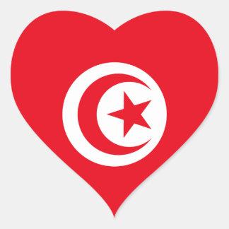 Pegatina del corazón de la bandera de Túnez