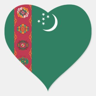 Pegatina del corazón de la bandera de Turkmenistán