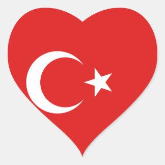 Pegatina del corazón de la bandera de Turquía