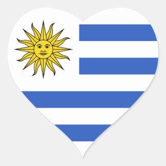 Pegatina del corazón de la bandera de Uruguay