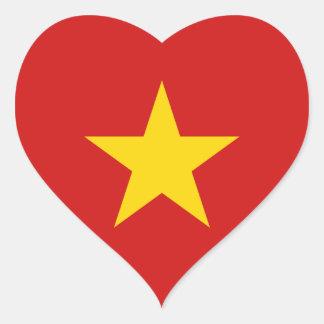 Pegatina del corazón de la bandera de Vietnam