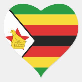 Pegatina del corazón de la bandera de Zimbabwe