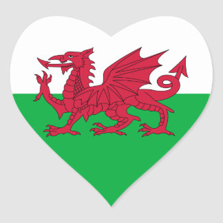 Pegatina del corazón de la bandera Galés
