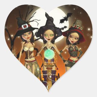 Pegatina del corazón de la bruja de las hermanas