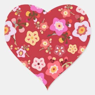 Pegatina del corazón de la flor de cerezo