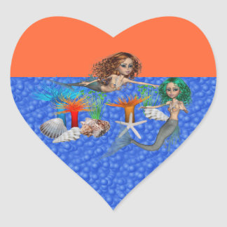 Pegatina del corazón de la sirena