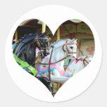 Pegatina del corazón de los caballos del carrusel