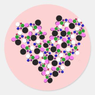 Pegatina del corazón de los puntos