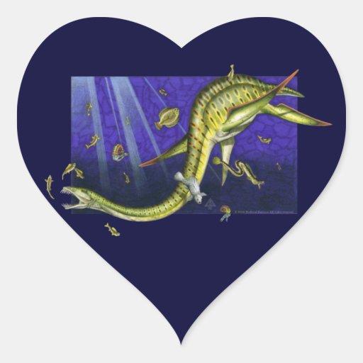 Pegatina del corazón de Plesiosaur
