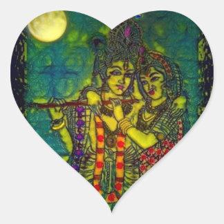 Pegatina del corazón de Radha Krishna1