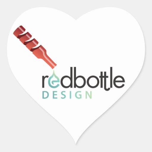 Pegatina del corazón de RedBottle del Logotipo-ed