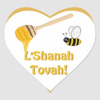 Pegatina del corazón de Shana Tova