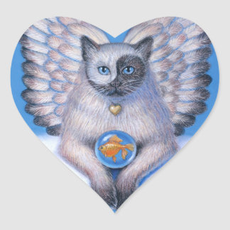 Pegatina del corazón de Yin gatito Yang del ánge